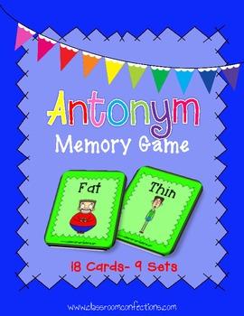 Antonyms Activity: Antonyms Memory Game: Literacy Center: