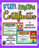 Fun Anytime Certificates