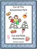 Amusement Park Summer School Math & Literacy Cut and Paste Worksheets