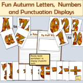 Fun Autumn-Themed Alphabet Lettering, Numbers Math Signs Punctuation Symbols