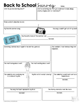 Back to School Student Survey - Get To Know You Activity - Digital / Print