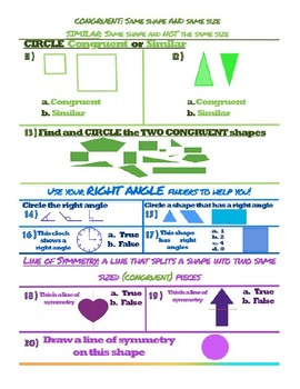 Fun Basic Geometry Color Coded Assessment or Worksheet