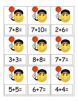 Fun Basketball Addition Cards