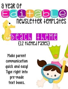 editable newsletter templates 12 included fun beach theme by