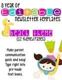 Editable Newsletter Templates (12 included): Fun Beach Theme