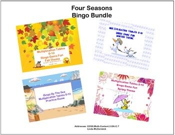 Fun Bingo Bundle- Multiplication With The 4 Seasons CCSS.Math.Content.3.OA.C.7