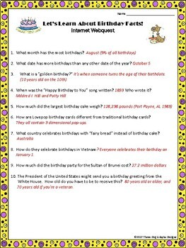 Fun Birthday Facts Webquest - Reading Internet Research Activity
