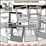 Fun Black and White Doodle Photo Frames Clip Art Set!