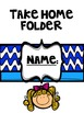 communication Folder - cover Sheets (Blue Design With Kids) can be edited