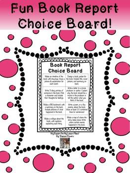 Fun Book Report Choice Board