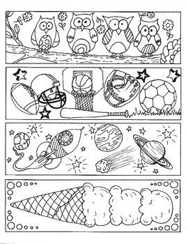 Fun Bookmarks to Color