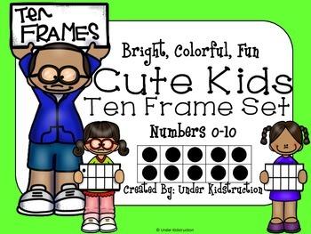 Ten Frames(0-10); Bright, Colorful, Fun Cute Kids Ten Frame