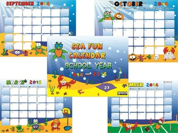 Fun Calendar School Year 2014 -2015
