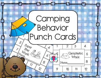 Fun Camping Behavior Punch Cards