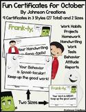 Fun Certificates for October