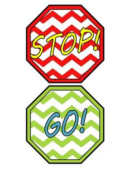 Fun Chevron Stop Go Classroom Bathroom Door Hanger Line Leader Sign Mini Visuals