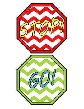 Fun Chevron Stop Go Classroom Bathroom Door Hanger Line Le
