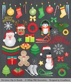 Fun Christmas Clip Art Bundle, 44 Festive Hand Drawn Holiday Illustrations