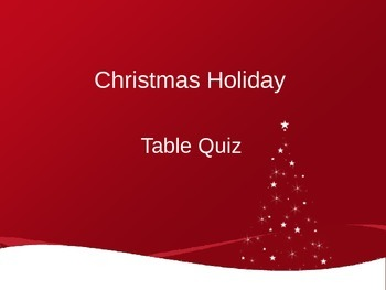 Fun Christmas Table Quiz (UK Spelling)