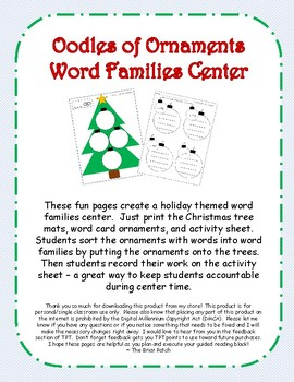 fun christmas word sort word work center oodles of ornaments