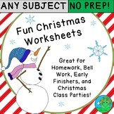 Fun Christmas Worksheets NO PREP