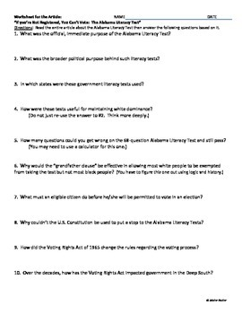 History U.S. or Government - Fun Civil Rights Activity - Literacy Tests