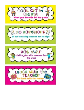 Fun Classroom Coupons/Rewards with Graphics