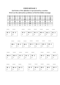 Fun Coded Message Subtraction Worksheets
