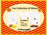 Thanksgiving Halloween Fire Safety Fine Motor Mazes P-K, K Special Education