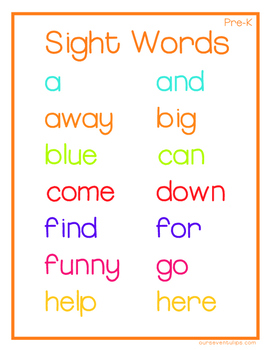 Fun Colored Complete Dolch Sight Words Lists for Prek- 3rd Grade