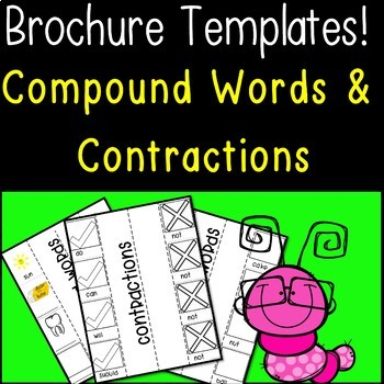 Brochure Templates! Compound Words & Contractions  (Great for End of the Year)