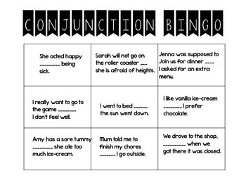 Fun Conjunction Bingo Game