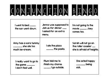Fun Conjunction Bingo Game
