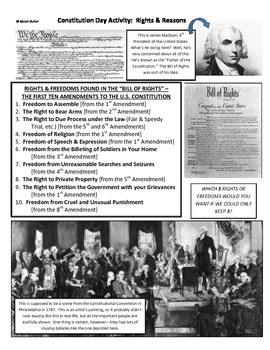 History U.S. or Government - Fun Constitution Day Activity - Rights & Reasons
