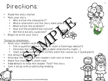 Fun Creative Writing Narrative Story Starters Packet #1-NO PREP