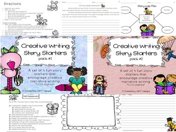 Fun Creative Writing Narrative Story Starters Packet Bundle- NO PREP