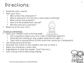 Fun Creative Writing Narrative/Opinion Story Starters Packet #3-NO PREP