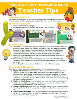 November Calendar Activities