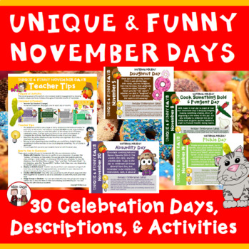 Fun Days of November Calendar Activities