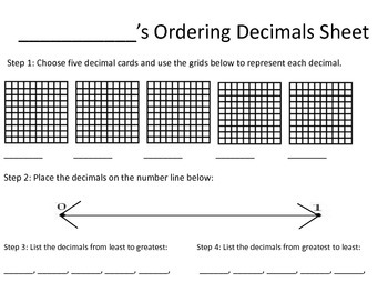 Fun Decimal Sheet for a Center Activity (4.NF.1-3)
