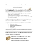 Fun Descriptive Writing Project - Letter, Brochure, Presentation