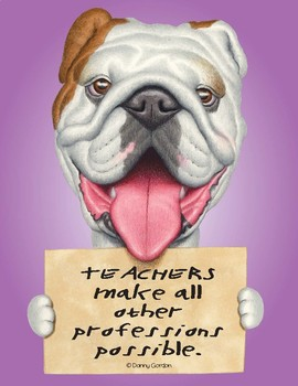 Fun Dog Poster with Quote Becky4 Bulldog