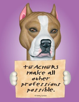 Fun Dog Poster with Quote Curly4 Staffordshire Terrier