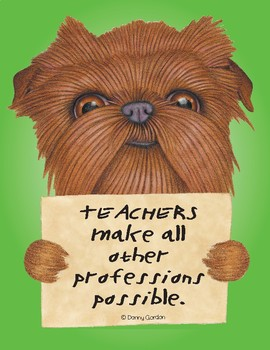 Fun Dog Poster with Quote Grover4 Brussels Griffon