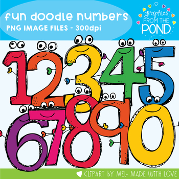 Fun Doodle Numbers - Clipart for Personal Commercial Use