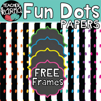 Fun Dots Digital Papers with FREE BONUS Frames