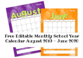 Fun EDITABLE Monthly School Calendar 2019-2020 Printable FREE