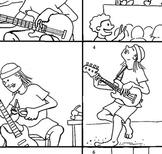 Fun ESL EFL lesson comic, English, jazz, music, guitars, past tense, mature
