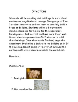Fun/Easy Earthquake Experiment and Worksheet for Back to School Ice Breaker