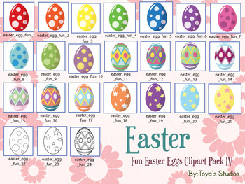 Fun Easter Eggs Clipart Pack IV
